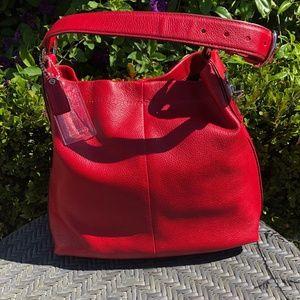 COACH Red Pebble Leather Soho Bag